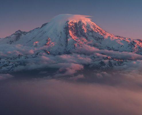 Cloudy Mount Rainier